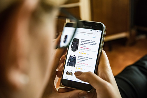 eCommerce site on mobile.