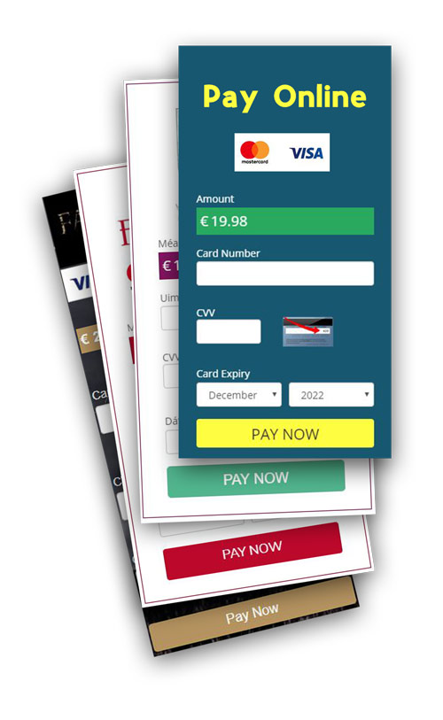 Card payment form samples.